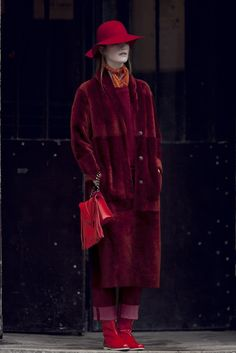Fall 2013 Trend: Saturation Point (Drome's sheepskin coat and Stouls' suede sweatshirt and pants. Innamorato hat; Epice scarf; Elena Ghisellini bag.) [Photo by Franck Mura]