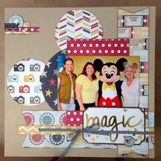 "I was given this paper for a Design Team project for my LSS. I generally don't use ""Disney"" paper or ""Disney colors"" for my Disney layouts. 8x8 Scrapbook Layouts, Love Scrapbook, Disney Scrapbook Pages, Scrapbook Cards, Scrapbooking Ideas, School Scrapbook, Cruise Scrapbook, Birthday Scrapbook, Disney Mickey"
