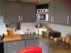 How To Makeover Your Kitchen Prod Page Kitchens Pinterest Tile - Grey cupboard paint