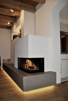 modern fireplace, corner version glass: fire table made of stone, location: . - modern fireplace, corner version glass: fire table made of stone, location: district Me - Linear Fireplace, Home Fireplace, Living Room With Fireplace, Fireplace Design, Fireplace Glass, Modern Stoves, Paint Your House, Traditional Fireplace, Fire Table
