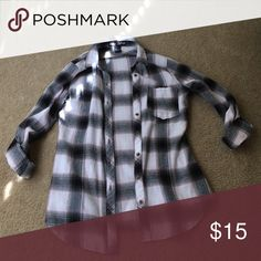 Flannel t shirt Cute black/pink checkered flannel Tops Button Down Shirts