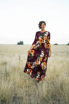 The Sienna Floral Maxi: Wine