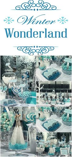 Winter Wonderland Candy Table. This blue color palette goes perfect together with silver
