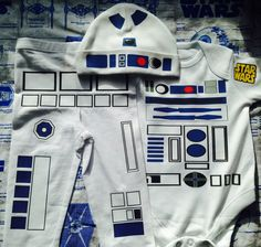 R2D2 Bodysuit Hat & Leggings  Baby Favourite Outfit by retrostate