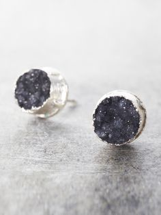 Druzy Post Earrings - Black