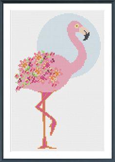 Flamingo Cross Stitch Pattern - digital download - tropical pink modern floral flower cross stitch pattern by TempleofStitch on Etsy