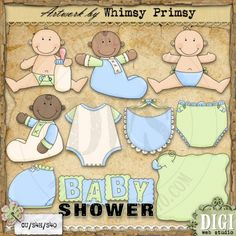 Baby Shower Boys 1 - Whimsy Primsy Clip Art Download