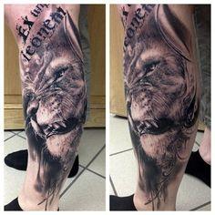 lion by Florian Karg, Bayern, Germany | calf tattoos