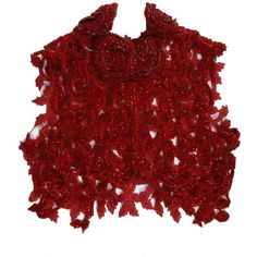Red embroidered cutwork jacket available only at Pernia's Pop-Up Shop. ($1,230) ❤ liked on Polyvore featuring outerwear