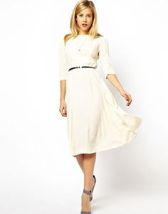 ASOS Midi Skater Dress With Belt And Zip Back. long sleeve probably isn't right, but it is cute