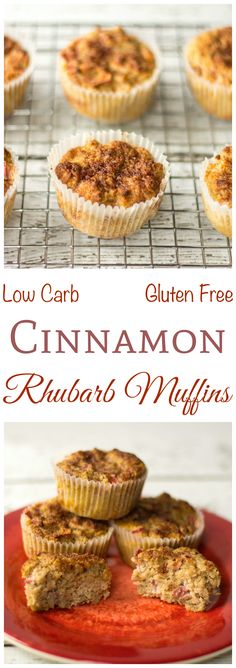 Although traditionally baked with strawberries, rhubarb is delicious on it's own. Enjoy tasty low carb gluten free cinnamon rhubarb muffins for breakfast or snack.