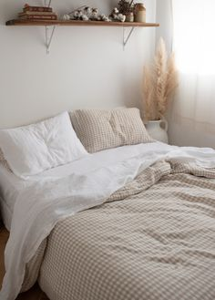 Beige Gingham French Linen - Lilly is Love Cozy Bedroom, Bedroom Inspo, 60s Bedroom, French Bedroom Decor, Neutral Bedroom Decor, Bedroom Apartment, Bedroom Ideas, Aesthetic Rooms, Minimalist Bedroom