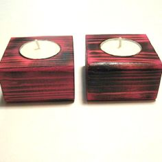 Pink and black wooden tea light candle holders.  Great valentine's day gift idea!!