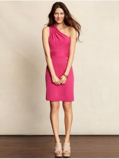 Banana Republic pleated one-shoulder dress in 'future pink'.  If the color doesn't win you over, the adorable cut has to!