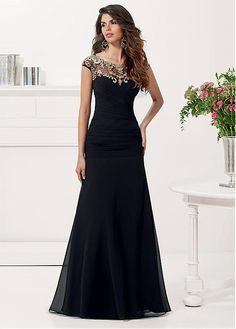 Chic Tulle & Satin & Chiffon Jewel Neckline Floor-length A-line Mother Of The Bride Dress