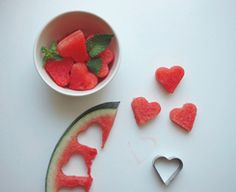 Watermelon hearts--great in fruit salads