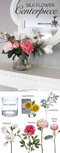 Make a gorgeous silk flower arrangement for your mantle or dining table with faux flowers and liquid illusion from afloral.com. Design by Oh Everything Handmade. #diy