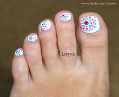 Cute and easy toe nail design for summer! @Christina & Watkins this would be good to try with my new dotting tool!!