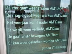 poetry on window public library Amsterdam