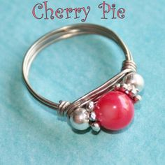CHERRY PIE Celebration Party Ring in Mother of Pearl Ring in Silver Sizes 3 - 10 by Maru