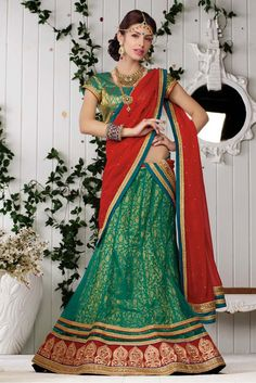 Net Party Wear Lehenga Choli in Green and Red Colour You will Look Beautiful After wearing this Lehenga Choli.Size Approx Lehenga,Stitched Upto 44 inches,Waist upto 44 inch,Hips upto 53 Inches.Unstitc...