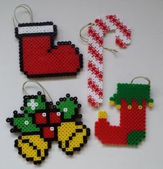 Perler bead Christmas ornaments by Joanne Schiavoni