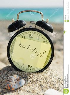 Time Clock Alarm Clock At Sunny Beach Stock Photo - Image: 45926391