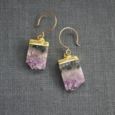 Mini Landscape Earrings IV, $106, now featured on Fab. by Prismera Design; amethyst