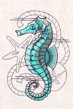 Seahorse nautical tattoo idea Mais