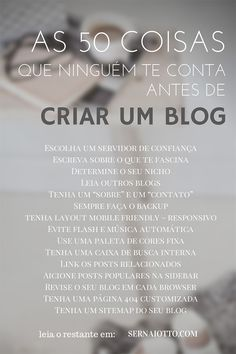 50 coisas que ninguém te conta antes de criar um blog - Sernaiotto