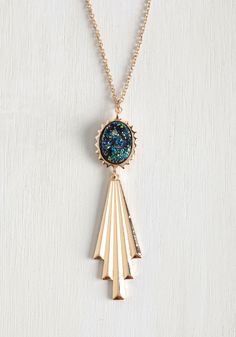 Opera House Wins Necklace. You score the victorious honor of being the best-accessorized opera attendee, thanks to this art deco-inspired necklace! #gold #modcloth