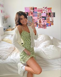 """Uploaded by Sara Joy - trendy green dress outfit sara joy"" Cute Casual Outfits, Girly Outfits, Mode Outfits, Retro Outfits, Casual Dresses, Winter Dresses, Tight Dresses, Casual Boots, Vintage Summer Outfits"