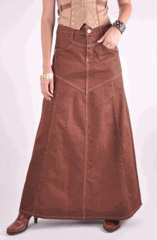 Chocolate Delight Long Denim Skirt