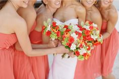 I love this color - perfect for a summer wedding! Coral is like the new peach (a BIG wedding color 20 years ago) Wedding Events, Our Wedding, Dream Wedding, Wedding Stuff, Wedding Flowers, Wedding Things, Wedding Bouquets, Wedding Ceremony, Wedding Dresses
