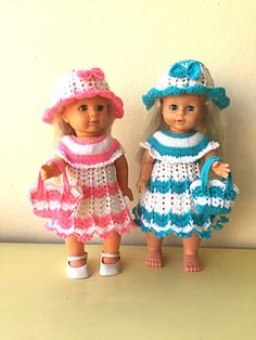 Crochet Pattern 3 Pieces Set : Dress, Hat And Bag for 18'' doll (also fits 16'' doll size)