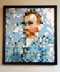 Vincent Van Gogh Pixel Art by Pixel Art - Jorge Campos Motifs Perler, Perler Patterns, Hama Beads, Art Hama, Easy Pixel Art, Modele Pixel Art, Pix Art, Art Perle, Pixel Pattern