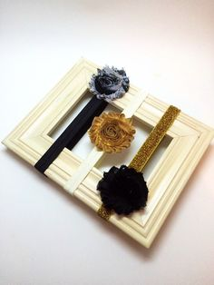 Baby Headband Set - Black, white and gold headband, newborn headband set, baby shower gift, baby photo prop, vintage headband set by Simpletreeboutique on Etsy https://www.etsy.com/listing/237028738/baby-headband-set-black-white-and-gold