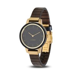 Finished in sandalwood, ELISA is the ideal companion for every occasion. Whether at the office, or with the little black dress: the dark wood in combination with the gilded stainless steel case matches marvelously. Wooden Watch, Dark Wood, Stainless Steel Case, Omega Watch, Modern Design, Quartz, Watches, Ale, Accessories