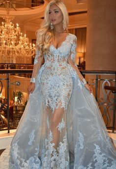 Mermaid V-neck Long Sleeves Blue Lace Prom Dress with Detachable Train f3b4d95c69a2