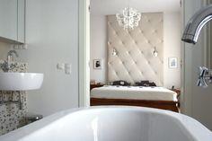 Salon kąpielowy przy sypialni #bedroom #bathroom #bed #bath #beautiful #interiors  #interiordesigner #łazienka #sypialnia #łóżko #wanna #architekt #wnętrza