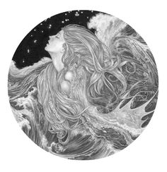 Sea Siren Study - one of a series of new original drawings by Ed Org which will be on exhibition at Obsidian Art from 14th Feb - 16th March 2014.  See http://www.obsidianart.co.uk/exhibitions/edorg.html for more details.