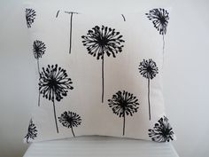 Gorgeous Dandelion in Black on White Pillow Cover, Decor Pillow, Accent Pillow, Designer Pillow