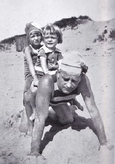 Phelan Sr., Edie, and Phelan Jr. on the beach in East Hampton, 1921.