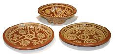 Sarie Maritz - earthenware dishes with carved white slip decoration, Windhoek, Namibia