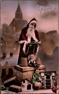 French Christmas Greeting Santa Claus  Tinted Real Photo Postcard