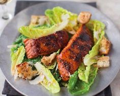 Caesar Salad With Blackened Salmon Recipe | Food Republic.
