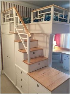 40 Admirable Rustic Storage Bed Design Ideas - Page 3 of 40 Cute Bedroom Ideas, Room Ideas Bedroom, Girl Bedroom Designs, Small Room Bedroom, Home Decor Bedroom, Bedroom Loft, Bed Ideas, Loft Beds For Small Rooms, Girls Bedroom Furniture