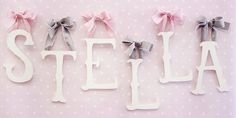 Storybook Letters-new arrivals, cursive letters, wooden letters, hanging letters, nursery design, baby room, wall decor, wall art, baby name, name, baby registry, storybook letters  $11/letter with lavender ribbon ties