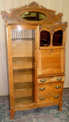 ANTIQUE Oak Side By Side Desk, Bowed Glass Cabinet, Carved Lions Heads, Mirrors