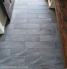 freckles chick: Mini mudroom: tiled & benchedStyle Selections 6-in x 24-in Ivetta Black Slate Glazed Porcelain Floor Tile (Actuals 24-in x 6-in)